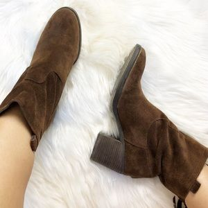 Sam Edelman Farrell chocolate suede heeled booties